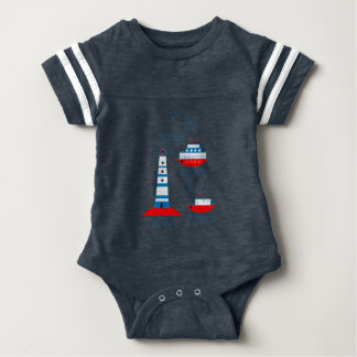 Sea, ships, lighthouses baby bodysuit