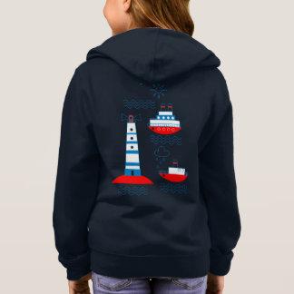 Sea, ships, lighthouses, hoodie