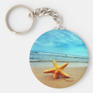 Sea Star On The Beach, Blue Sky, Ocean Basic Round Button Keychain