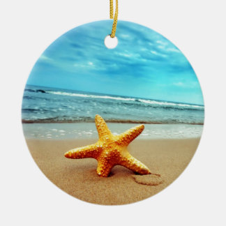 Sea Star On The Beach, Blue Sky, Ocean Ceramic Ornament