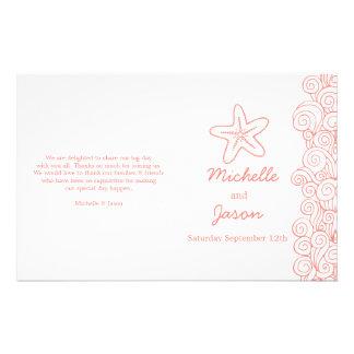 Sea star & swirls coral white wedding programs