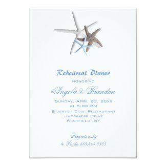 "Sea Stars, Custom Beach Wedding Rehearsal Dinner 5"" X 7"" Invitation Card"