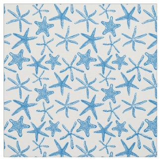 Sea stars in blue fabric
