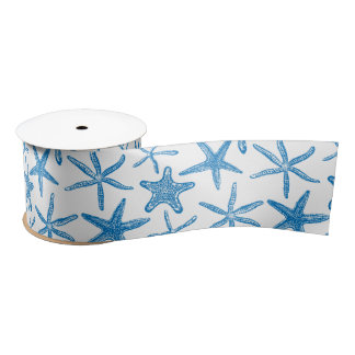 Sea stars in blue satin ribbon