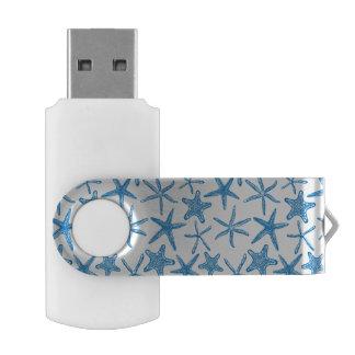 Sea stars in blue USB flash drive