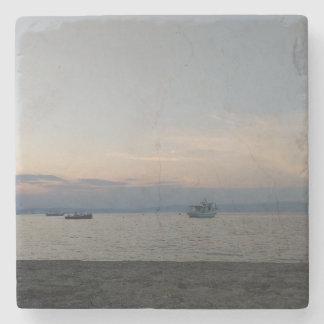 Sea summer boats Marble Stone Coaster