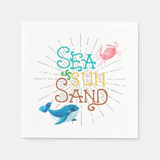 Sea Sun Sand Disposable Napkin
