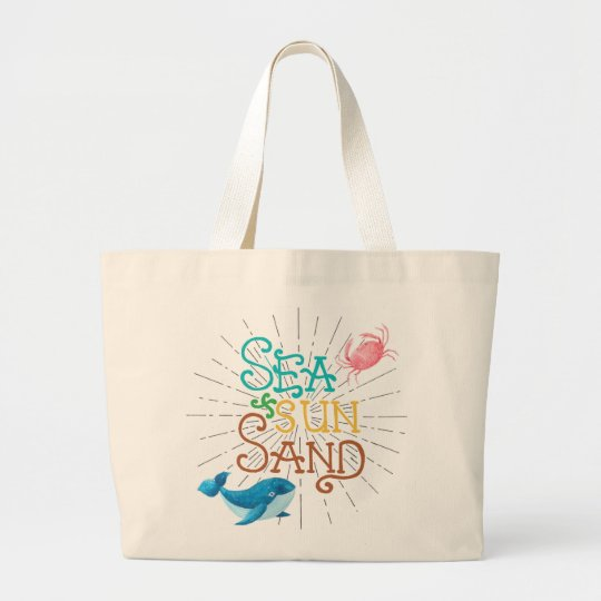 Sea Sun Sand Large Tote Bag