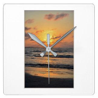 Sea Sunset Square Wall Clock