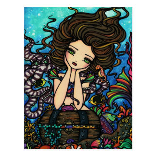 Sea Treasure Chest Mermaid Fairy Fantasy Art Girl Postcard