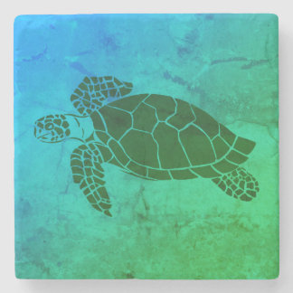 Sea Turtle 2 on Blue and Green Background Stone Beverage Coaster