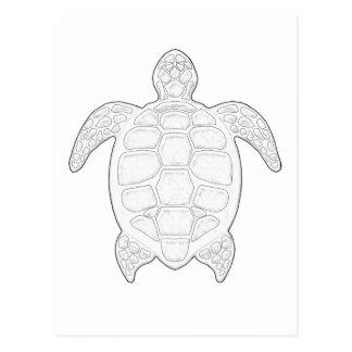 Sea Turtle Adult Coloring Postcard