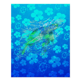 Sea Turtle And Blue Honu Print