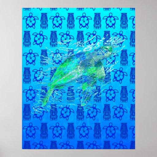 Sea Turtle And Blue Tiki Print