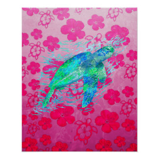 Sea Turtle And Pink Honu Poster