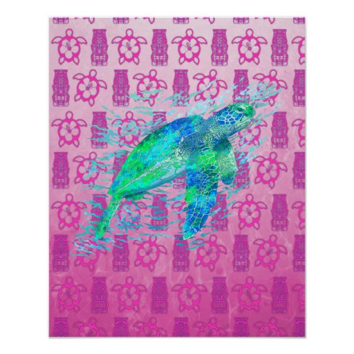 Sea Turtle And Pink Honu Posters