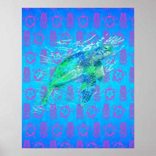 Sea Turtle And Tiki Print