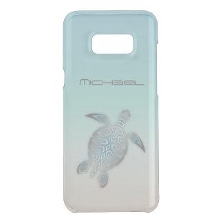 Sea Turtle Animal Silver Clear Monogram Uncommon Samsung Galaxy S8 Plus Case