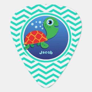 Sea Turtle Aqua Green Chevron Pick