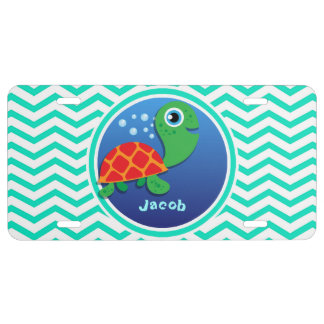 Sea Turtle; Aqua Green Chevron License Plate
