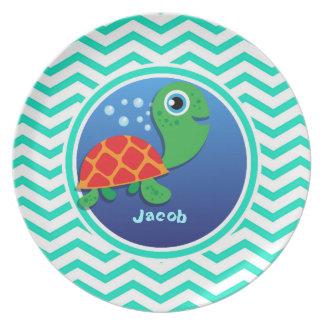 Sea Turtle Aqua Green Chevron Plate