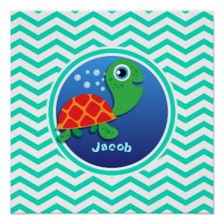 Sea Turtle Aqua Green Chevron Print