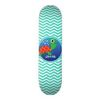 Sea Turtle Aqua Green Chevron Skate Board Deck