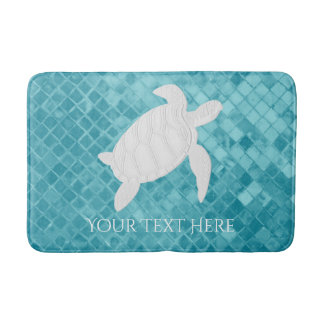 Sea Turtle Aqua Sea Glass Personalize Bath Mat