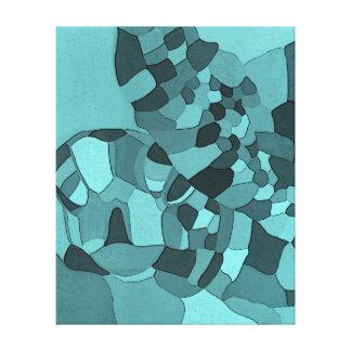 Sea Turtle Aqua Wrapped Canvas Print