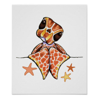 Sea Turtle Baby Brown Starfish Poster