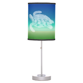 Sea Turtle Blue Green Seascape Table Lamp
