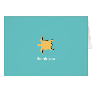 Sea turtle blue yellow custom photo thank you card