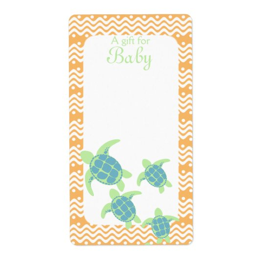 Sea Turtle Book Tags Baby Orange Shipping Label