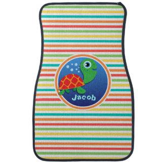 Sea Turtle; Bright Rainbow Stripes Car Floor Carpet