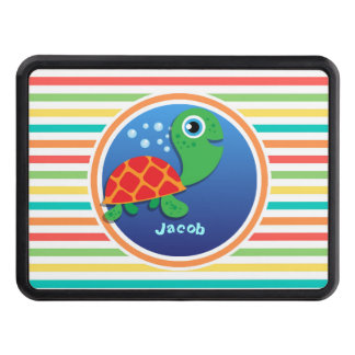 Sea Turtle Bright Rainbow Stripes Hitch Covers