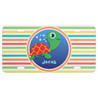 Sea Turtle; Bright Rainbow Stripes License Plate