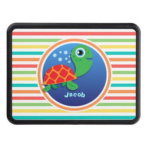 Sea Turtle; Bright Rainbow Stripes Hitch Covers