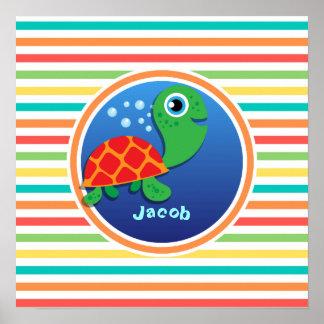 Sea Turtle Bright Rainbow Stripes Poster