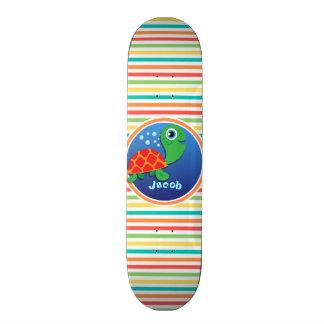 Sea Turtle Bright Rainbow Stripes Skate Decks