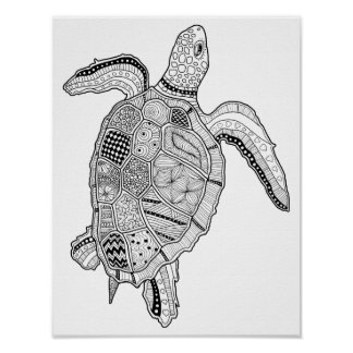 Sea Turtle Cardstock Adult Coloring Page Poster