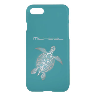 Sea Turtle Clear bling Monogram iPhone 8/7 Case