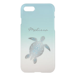 Sea Turtle Costal Silver Clear Monogram iPhone 8/7 Case