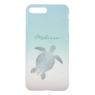 Sea Turtle Costal Silver Clear Monogram iPhone 8 Plus/7 Plus Case