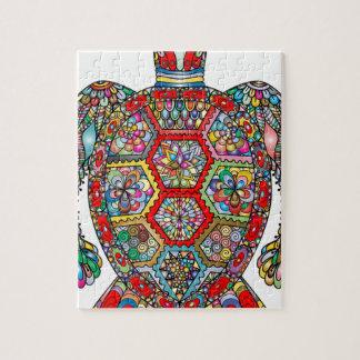 Sea Turtle Floral Flowers Decorative Ornamental Jigsaw Puzzle