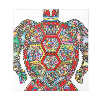 Sea Turtle Floral Flowers Decorative Ornamental Notepad