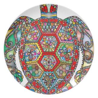 Sea Turtle Floral Flowers Decorative Ornamental Plate