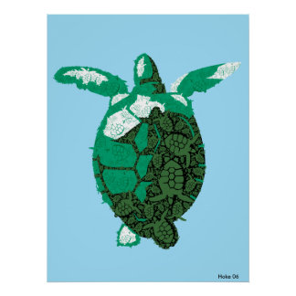 Sea Turtle Fractal Poster