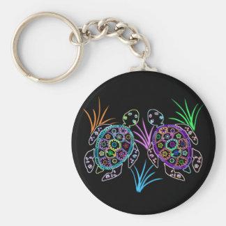 Sea Turtle Glow Basic Round Button Keychain