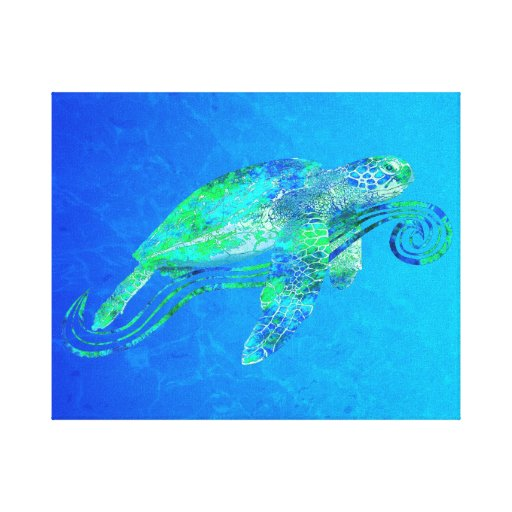 Sea Turtle Graphic Gallery Wrapped Canvas