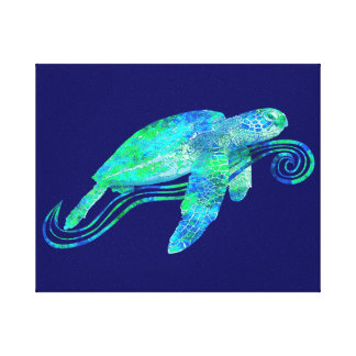 Sea Turtle Graphic Stretched Canvas Prints